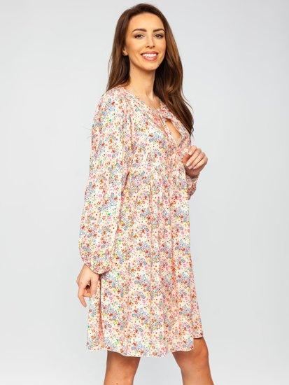 Бежева сукня жіноча в квіточку Bolf 3019