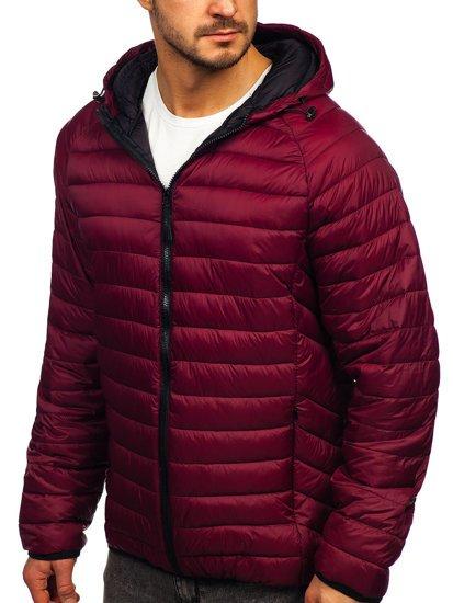 Бордова стьобана демісезонна чоловіча куртка з капюшоном Bolf 13022
