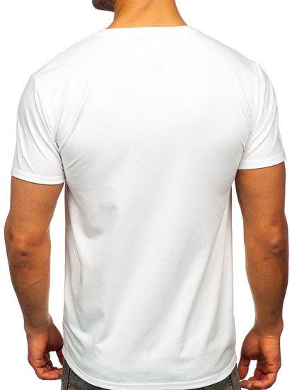 Біла чоловіча футболка з принтом Bolf S10026