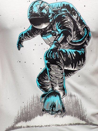 Біла чоловіча футболка з принтом Bolf S10032