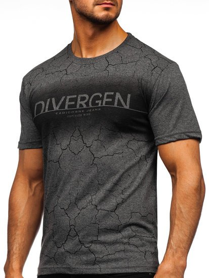 Графітова чоловіча футболка з принтом Bolf 14424