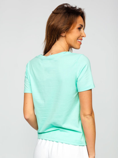 М'ятна жіноча футболка з принтом Bolf SD211