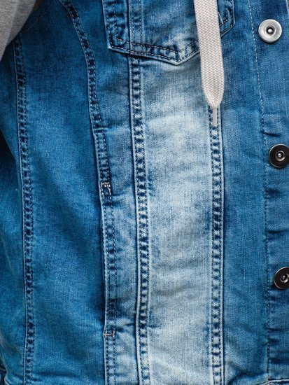 Синя чоловіча джинсова куртка з капюшоном Bolf 10350