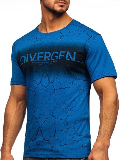 Синя чоловіча футболка з принтом Bolf 14424