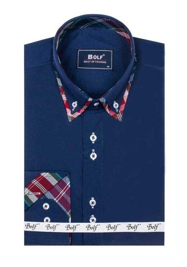 Сорочка чоловіча BOLF 4704 темно-синя