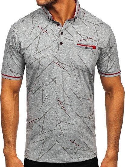 Сіра чоловіча футболка поло з принтом Bolf 192280