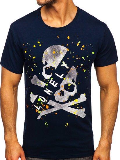 Темно-синя чоловіча футболка з принтом Bolf Y70008