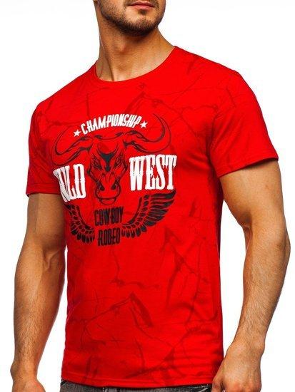 Червона чоловіча футболка з принтом Bolf Y70026