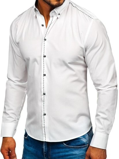 Чоловіча елегантна сорочка з довгим рукавом біла Bolf 6920