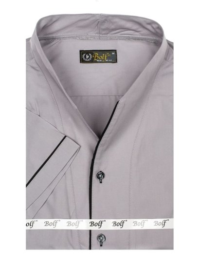 Чоловіча сорочка з коротким рукавом сіра Bolf 5518
