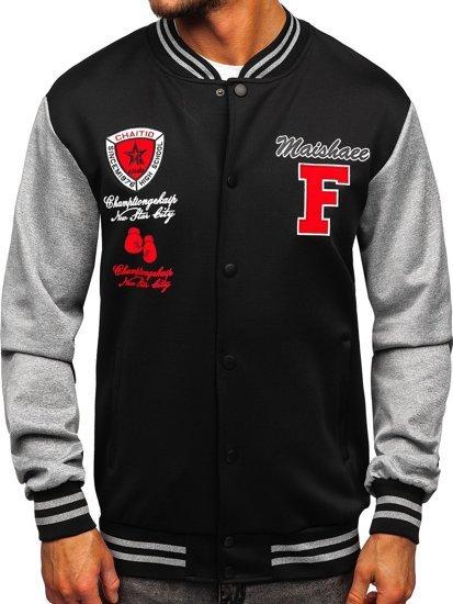 Чорна толстовка-куртка чоловіча тонка бейсбольна з принтом Bolf B10160