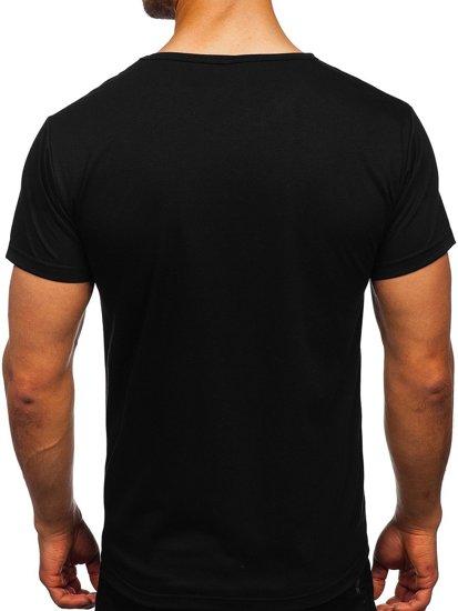 Чорна чоловіча футболка з принтом Bolf KS2650