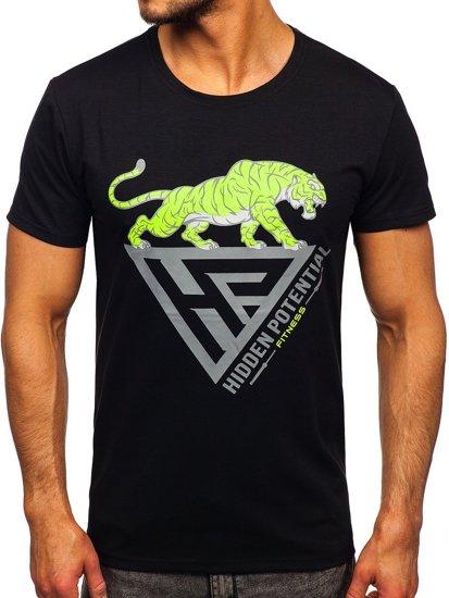 Чорна чоловіча футболка з принтом Bolf Y70013