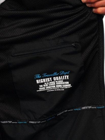Чорно-синя чоловіча куртка софтшелл Bolf WX057