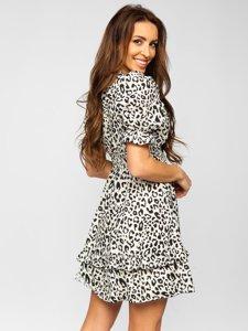 Бежева сукня жіноча з леопардовим принтом Bolf 6986