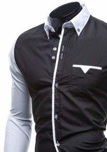 Сорочка чоловіча елегантна з довгим рукавом чорна Bolf 5726