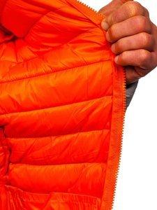 Сіра стьобана демісезонна чоловіча куртка з капюшоном Bolf 13022