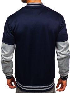 Темно-синя з принтом толстовка чоловіча тонка бейсбольна куртка Bolf B10158
