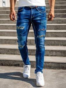 Темно-сині чоловічі джинси slim fit Bolf з ременем 80034W0