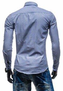 Чоловіча елегантна смугаста сорочка з довгим рукавом темно-синя Bolf 4789