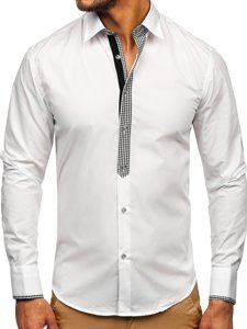 Чоловіча елегантна сорочка з довгим рукавом біла Bolf 6873