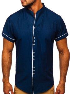 Чоловіча сорочка з коротким рукавом темно-синя Bolf 5518