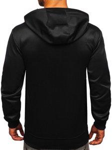 Чорна чоловіча толстовка з капюшоном і принтом Bolf B10112