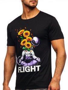 Чорна чоловіча футболка з принтом Bolf S10022